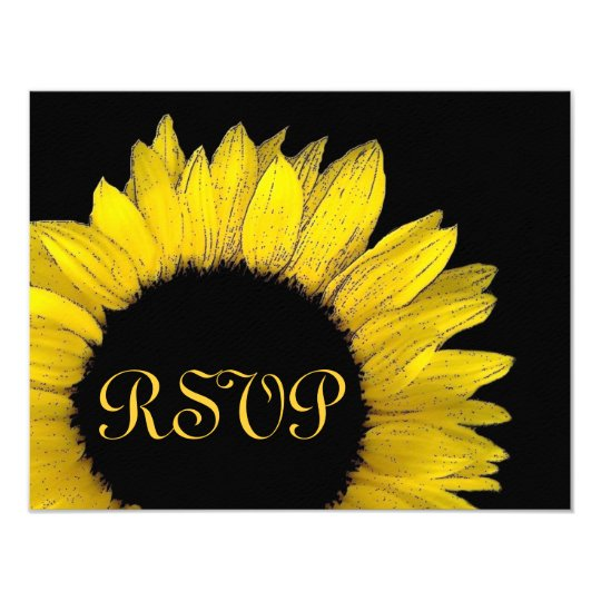 Yellow Sunflower RSVP Wedding Response Card