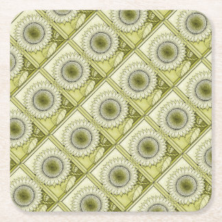 Yellow Sunflower Square Paper Coaster