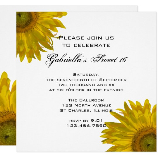 Yellow Sunflower Sweet 16 Birthday Party Invite