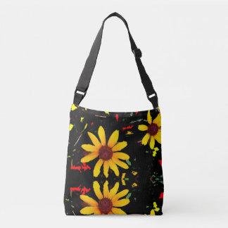 Yellow Sunflower Tote Bag / Black Confetti