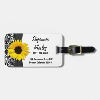 Yellow Sunflower Vintage Damask Floral Luggage Tag
