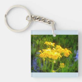 Yellow Sunflower Water Reflection Blue Keychain