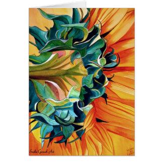 Yellow Sunflower watercolor original art painting Greeting Card