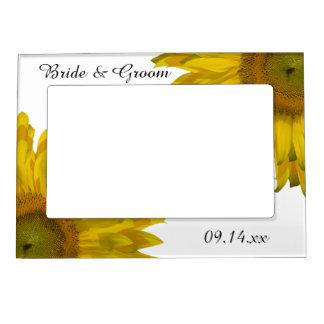 Yellow Sunflower Wedding Frame Magnets