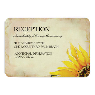 Yellow Sunflower Wedding Insert Card 9 Cm X 13 Cm Invitation Card