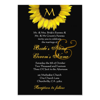 Yellow Sunflower Wedding 13 Cm X 18 Cm Invitation Card