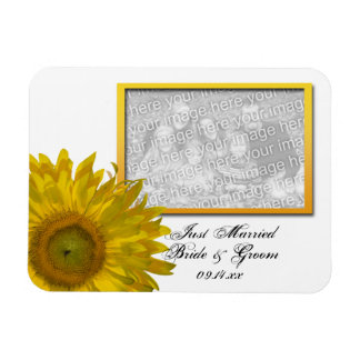 Yellow Sunflower Wedding Just Married Photo Magnet