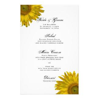 Yellow Sunflower Wedding Menu