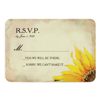 Yellow Sunflower Wedding RSVP Card 9 Cm X 13 Cm Invitation Card