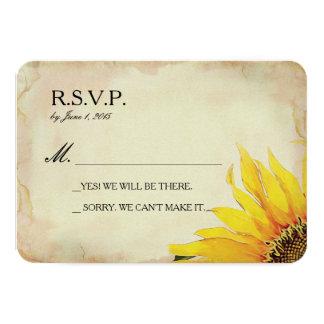 Yellow Sunflower Wedding RSVP Card 9 Cm X 13 Cm Invitation Card