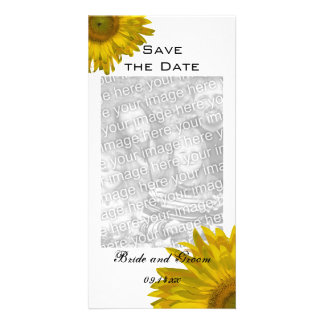 Yellow Sunflower Wedding Save the Date Vertical Photo Greeting Card