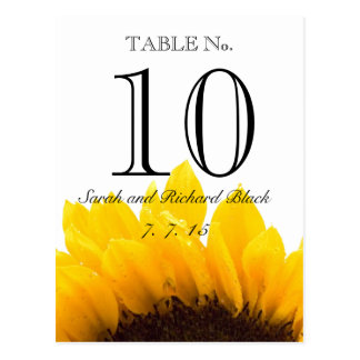 Yellow Sunflower Wedding Table Number Postcard