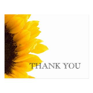 Yellow Sunflower Wedding Thank You Postcard