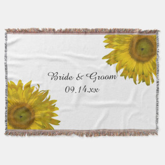 Yellow Sunflower Wedding Throw Blanket