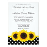 Yellow Sunflower White and Black Polka Dot Wedding 13 Cm X 18 Cm Invitation Card