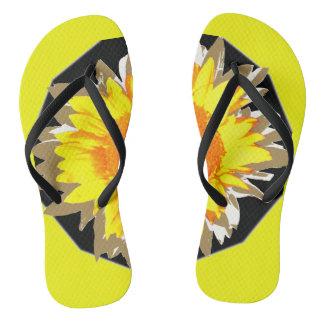 Yellow Sunflower White Black Motif Thongs