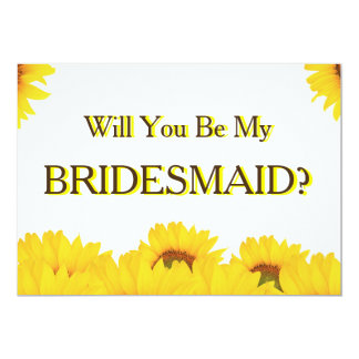 Yellow Sunflower Will You Be My Bridesmaid 13 Cm X 18 Cm Invitation Card