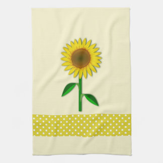 Yellow Sunflower with Polka dot Kitchen Towel