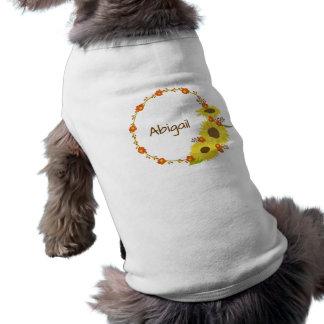 Yellow Sunflower wreath Customize your name Sleeveless Dog Shirt