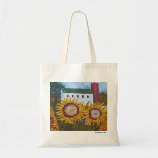 Yellow Sunflowers and Barn Tote Bag