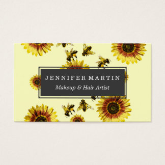 Yellow Sunflowers and Honey Bees Summer Pattern Business Card