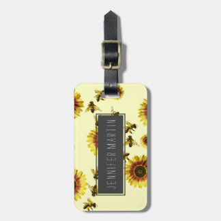 Yellow Sunflowers and Honey Bees Summer Pattern Luggage Tag