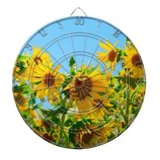 Yellow Sunflowers in a Field Dartboard