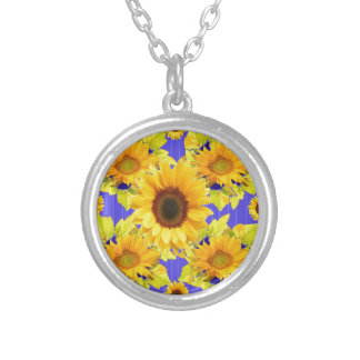 Yellow Sunflowers Lilac Pattern  gifts Silver Plated Necklace