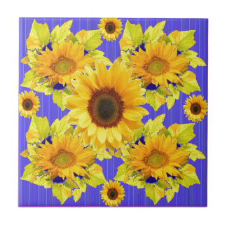 Yellow Sunflowers Lilac Pattern  gifts Tile