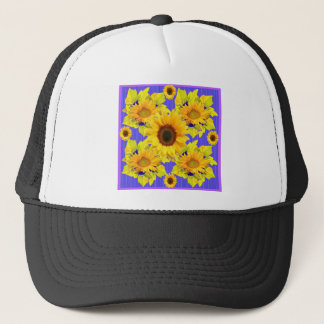 Yellow Sunflowers Lilac Pattern  gifts Trucker Hat