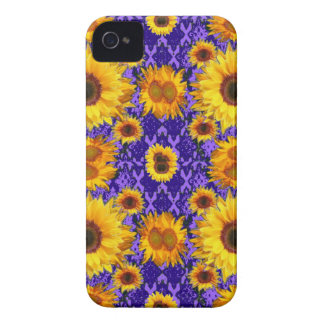 Yellow Sunflowers On Amethyst Color Gifts iPhone 4 Cover