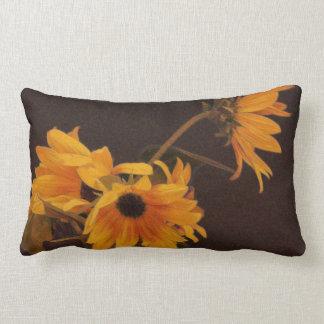 Yellow sunflowers on chocolate background lumbar cushion