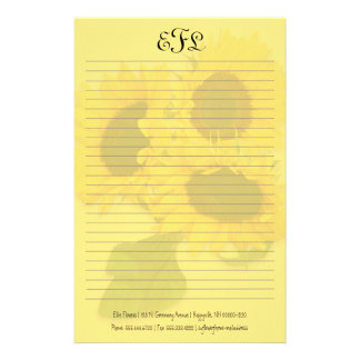Yellow Sunflowers Personal Monogram Writing Paper