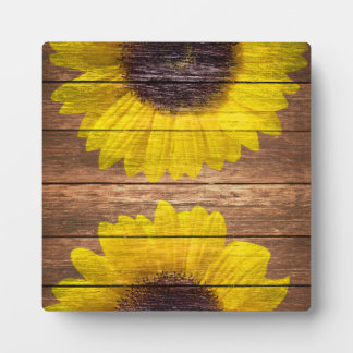 Yellow Sunflowers Rustic Vintage Brown Wood Plaque