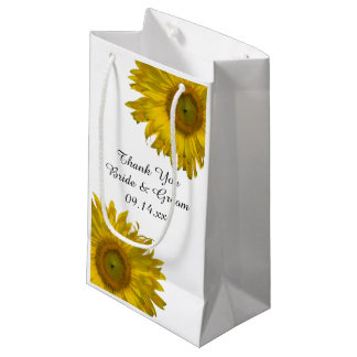 Yellow Sunflowers Thank You Wedding Small Gift Bag