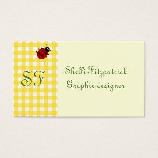 Yellow Sunny Gingham with Ladybug and Monogram