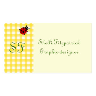 Yellow Sunny Gingham with Ladybug and Monogram Pack Of Standard Business Cards