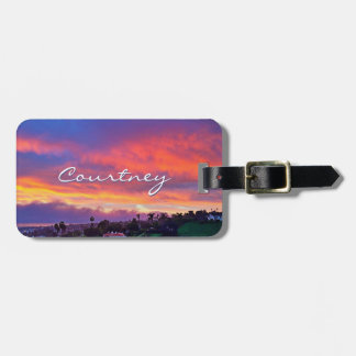 "Yellow sunrise photo ""your name here"" luggage tag"