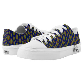 Yellow Suns Pattern on Blue Low Tops
