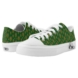 Yellow Suns Pattern on Green. Low Tops