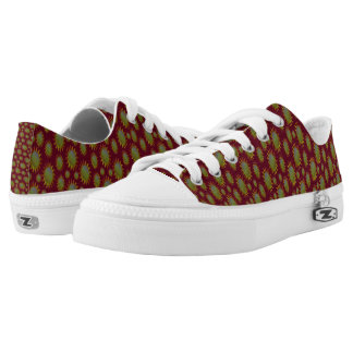 Yellow Suns Pattern on Red Low Tops
