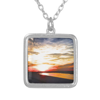 yellow sunset .jpg square pendant necklace