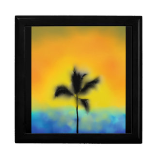 yellow sunset PALM TREE LARGE KEEPSAKE BOX