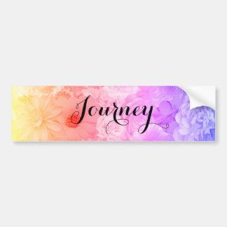 Yellow Sunset Pastel Floral Flowers Boho Journey Bumper Sticker