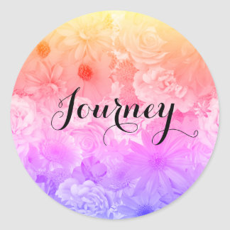 Yellow Sunset Pastel Floral Flowers Boho Journey Classic Round Sticker