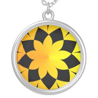 Yellow Sunset Round Pendant Necklace