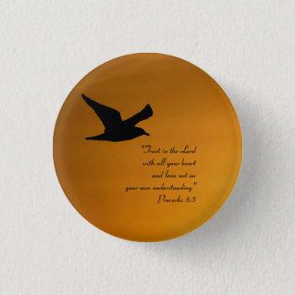 Yellow Sunset Sky Bird in Flight Faith Bible Verse 3 Cm Round Badge