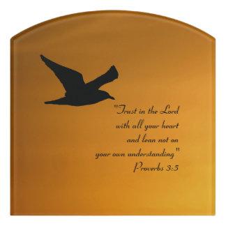 Yellow Sunset Sky Bird in Flight Faith Bible Verse Door Sign