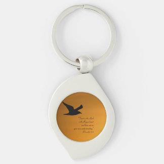 Yellow Sunset Sky Bird in Flight Faith Bible Verse Key Ring