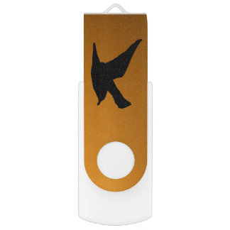 Yellow Sunset Sky Bird in Flight Faith Bible Verse USB Flash Drive
